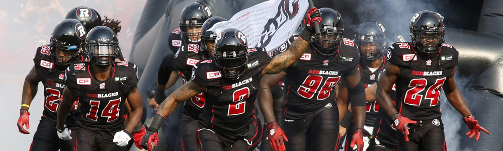 The Ottawa Redblacks take to the field for their game against the BC Lions before CFL action in Ottawa on Saturday, July 4, 2015.  (CFL PHOTO - Patrick Doyle)