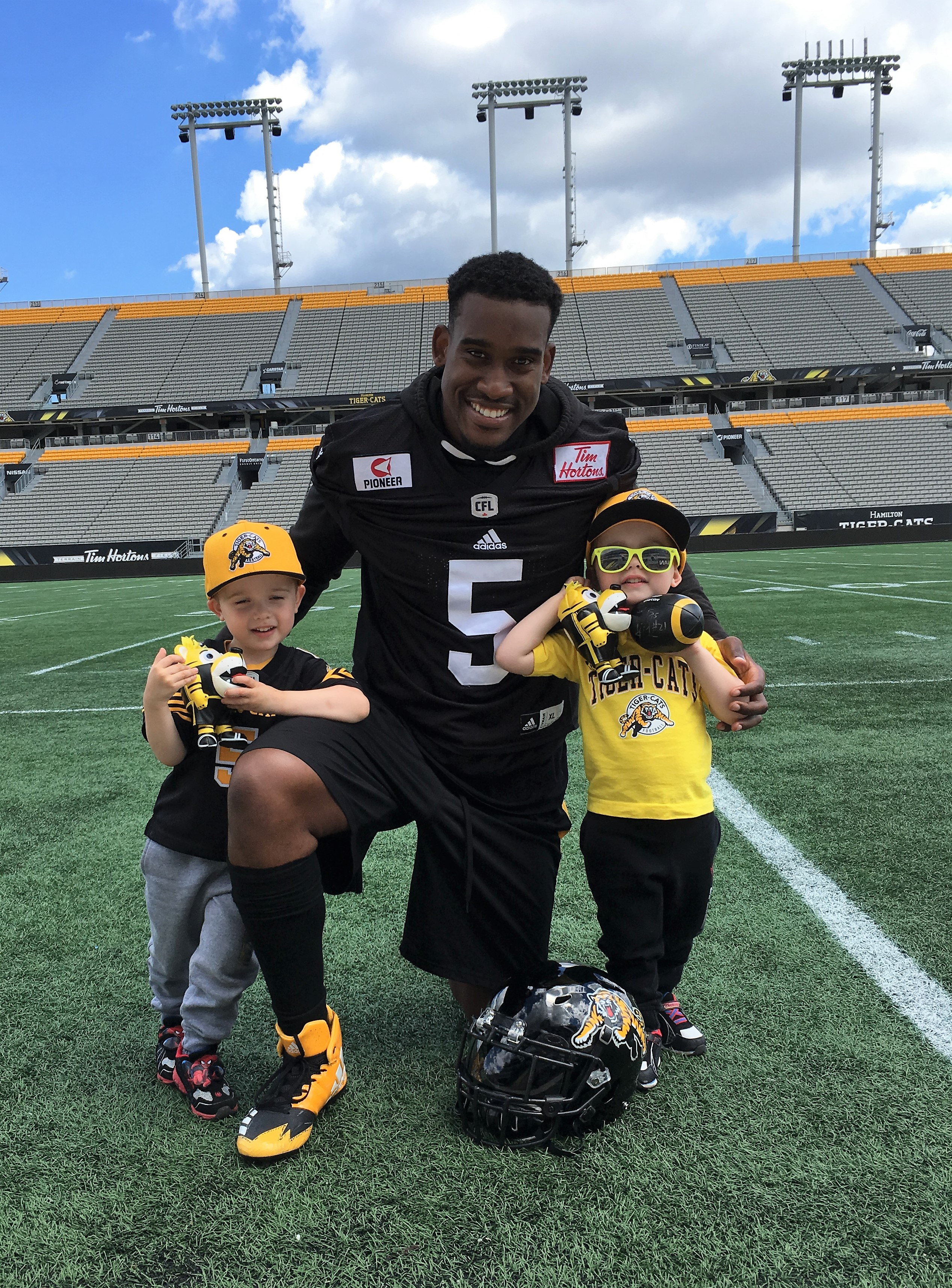 Adrian bought the twins Ticats  jerseys with his number and name and  personally autographed them. The DeHarts have since bought them new ones  because they ... 18199b2d2